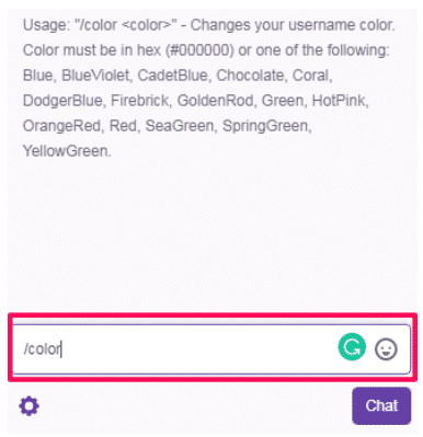 change the color twitch name