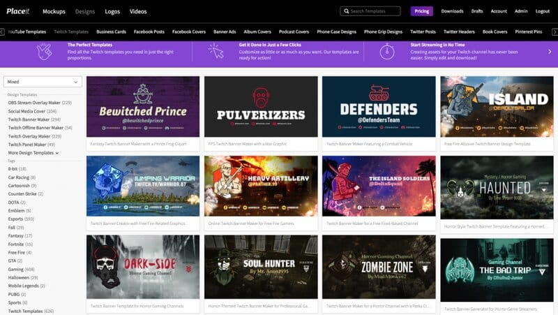 Placeit Twitch overlays