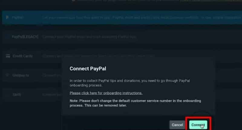 connecting PayPal to Twitch