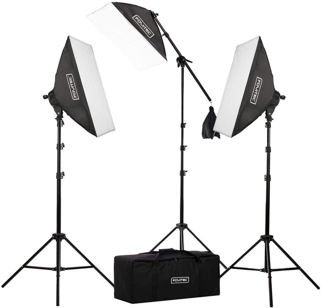 Fovitec 3-Light Fluorescent Studio Lighting Kit