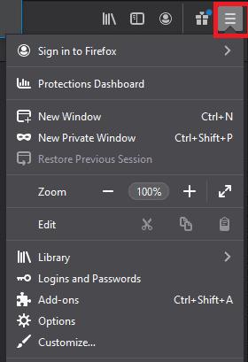 Open Menu' button Mozilla