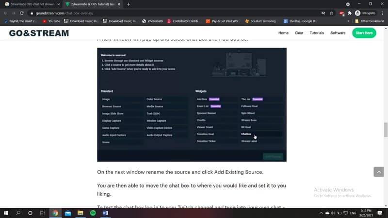 streamlabs chatbox