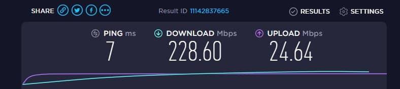 internet speed test result