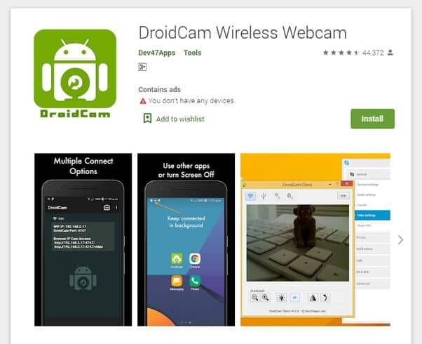 Install DroidCam on your smartphone