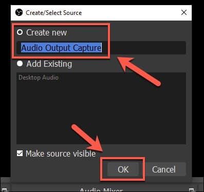 Choose Audio Output Capture