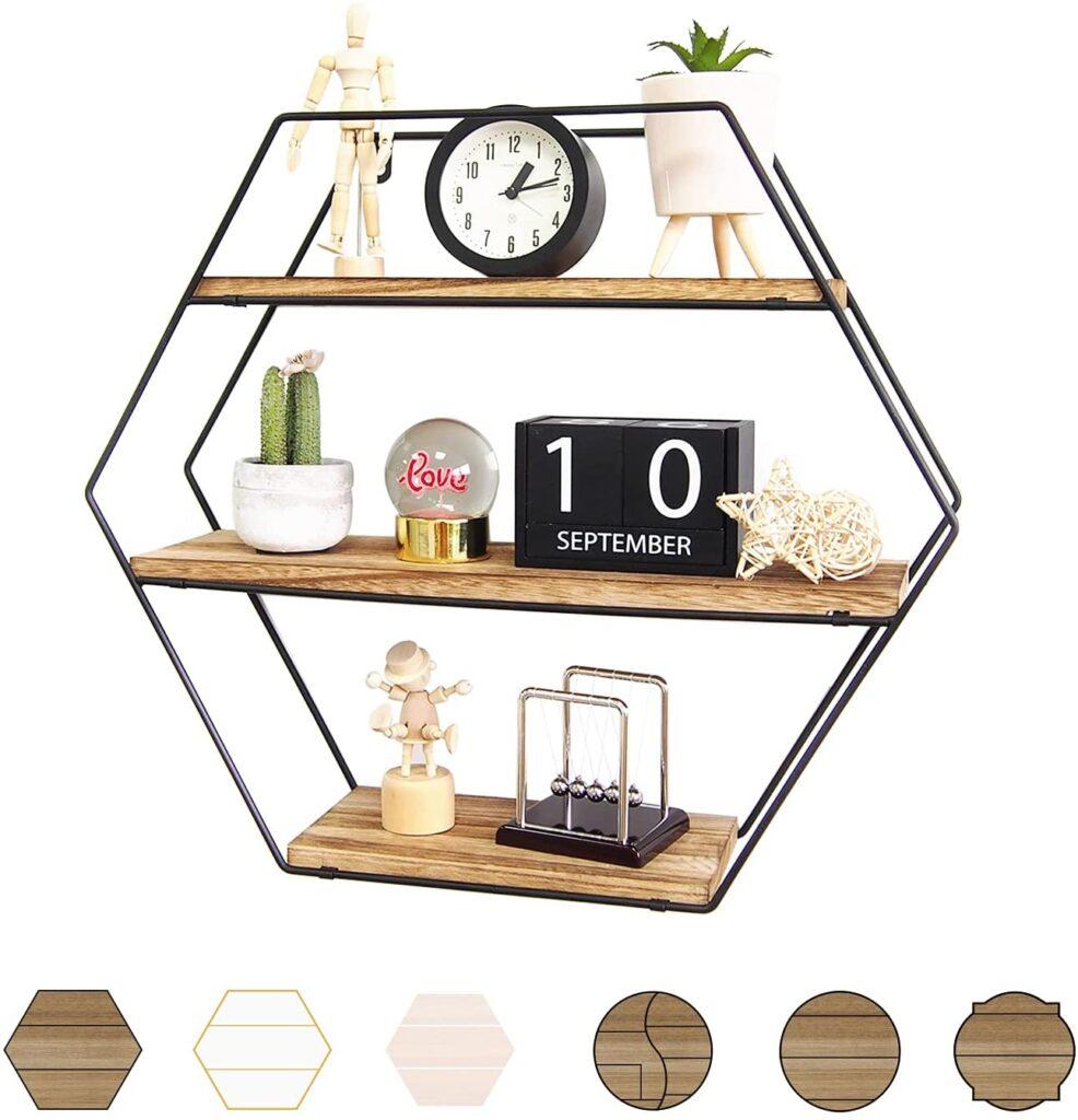 Hexagon Rustic Shelves